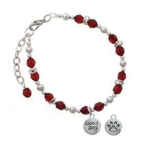 with AB Crystal and Paw Print Maroon Czech Glass Beaded Charm Bracelet