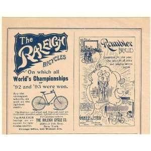 1894 Raleigh and Rambler Bicycles Bikes Print Ad (53201