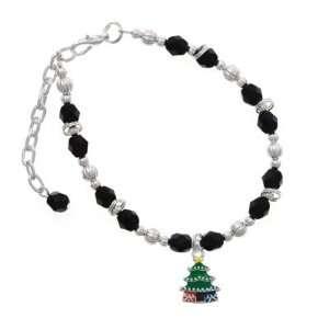 Enamel Christmas Tree Black Czech Glass Beaded Charm Bracelet [Jewelry