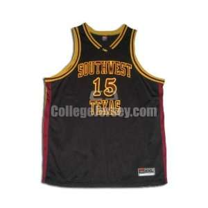 Black No. 15 Game Used Texas State Nike Basketball Jersey