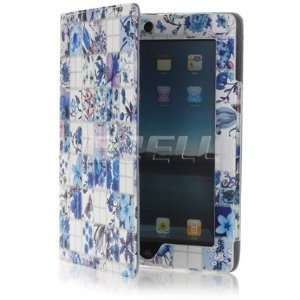 Ecell   BLUE BLOSSOMS BOOK STYLE LEATHER CASE STAND FOR