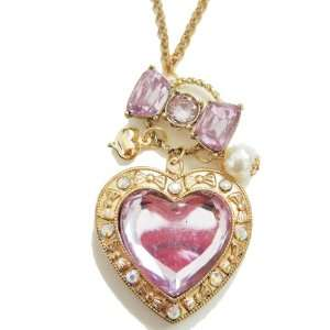 Big Heart Lovely Pink and Bow necklace Jewelry