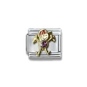 Czech Crystal & Gold Little Boy Birthstone Italian Charm Bracelet Link