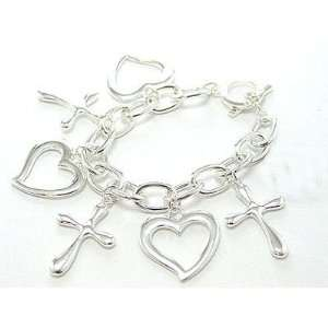 Silver Cross and Heart Charm Toggle Bracelet Arts, Crafts & Sewing