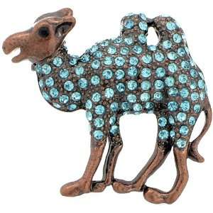 Turquoise Blue Camel Austrian Crystal Animal Brooch Pins Jewelry