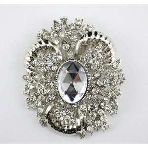 Clear Swarovski Crystal Glamourous Brooch Pin