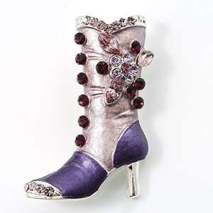 Lilac Crystal High Boot Pin Brooch Jewelry