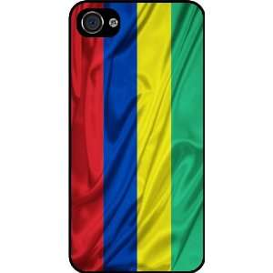 KnightTM Mauritius Flag Rubber Black iphone Case (with bumper) Cover