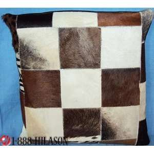 Leather Hair On Patchwork Cushion Pillow Cover