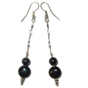 Obsidian Earrings 06 Coin Orb Black Silver Chain Crystal Healing Stone