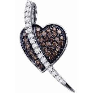 Brown Champagne Diamond Heart Pendant 10k White Gold Charm