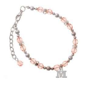 Small Silver Initial   M Pink Czech Glass Beaded Charm Bracelet
