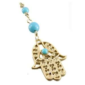 Matte Gold Plated Necklace with Light Blue Beads and Hamsa