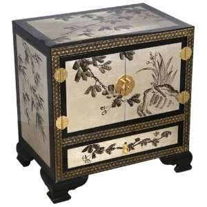 Chinese Storage Cabinet / End Table With Orchid Motif Furniture
