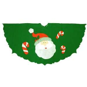Santa Claus & Candy Cane Green Christmas Tree Skirt