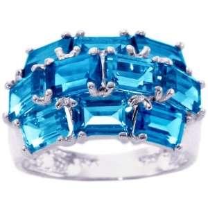 14K White Gold Gemstone Cluster Ring Swiss Blue Topaz