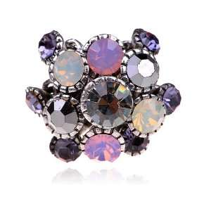 Bling Fashionable Cluster Czech Crystal Rhinestone Sized Ring Jewelry