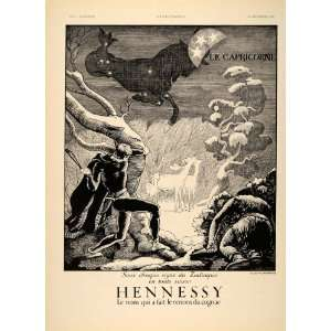 1934 French Ad Hennessy Cognac Zodiac Capricorn Sign   Original Prin