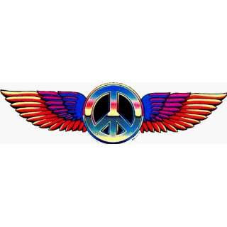 Large Multi Colored Peace Sign with Wings   Sticker