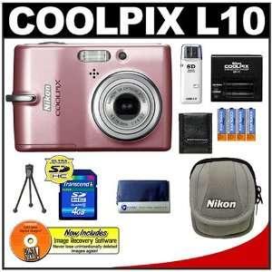 Nikon Coolpix L10 Digital Camera (Pink) + 4GB Card + Case