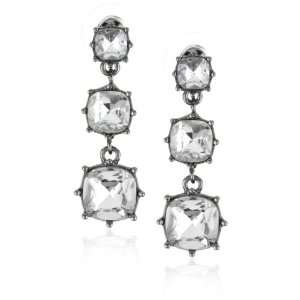 Betsey Johnson Iconic Crystal 3 Square Drop Earrings Jewelry