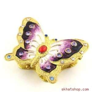 Gold Tone and Crystals Butterfly Trinket Pill Ring Box
