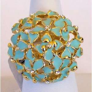Gold Plated Blue Enamel Flowers, with Crystal Stones