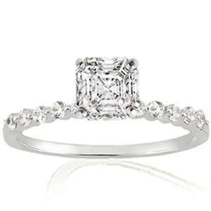 Ct Asscher Cut Diamond Engagement Ring 14K SI1 EGL CUT VERY GOOD