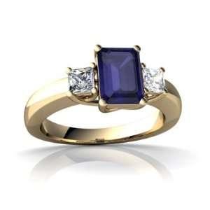 Gold Emerald cut Genuine Sapphire Trellis Ring Size 7.5 Jewelry