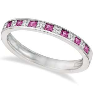 Princess Cut Diamond and Pink Sapphire Ring Band 14k White
