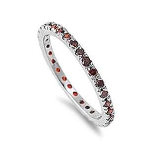 com 1.00 CT Sterling Silver Rhodium Plated Round Red Garnet CZ Cubic