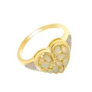 9ct Yellow Gold Opal & Diamond Heart Ring Size 8.5 Jewelry
