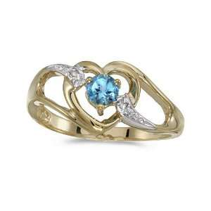 Gold Round Blue Topaz And Diamond Heart Ring (Size 5.5) Jewelry