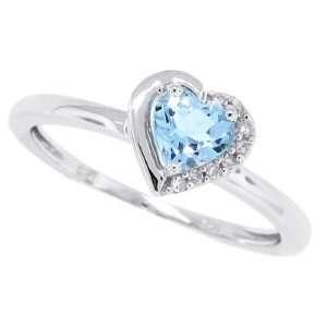 0.58Ct Heart Shaped Aquamarine Diamond Ring in 10Kt White