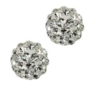 8mm Round White Pave Crystal Disco Ball Stud Earrings Jewelry