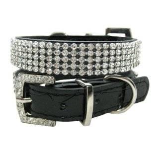 Clear Crystal Luxury Leather Rhinestone Dog Collar, Black   Medium 15