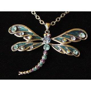 Beautiful Large Green and Ice Crystal Dragonfly Charm Necklace Silver