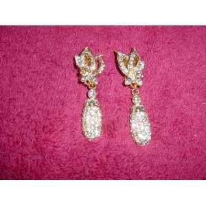 Goldtone & Crystal Rhinestone Earrings