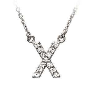 Diamond Initial Necklace in 14 Karat White Gold, Letter X Jewelry