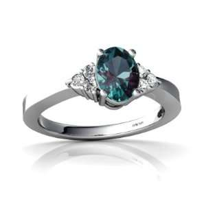 14K White Gold Oval Created Alexandrite Ring Size 8.5 Jewelry