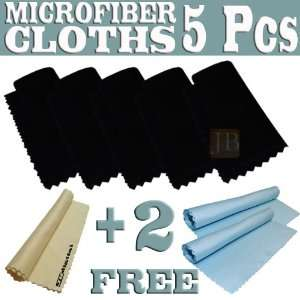 Set   5 Black Microfiber Cleaning Cloths for Electronic Devices, Lens