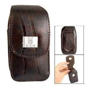 Magnetic Button Dark Brown Faux Leather Fold up Eyeglasses Holder Case