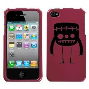 black mini frankenstein monster design on metallic burgundy phone case