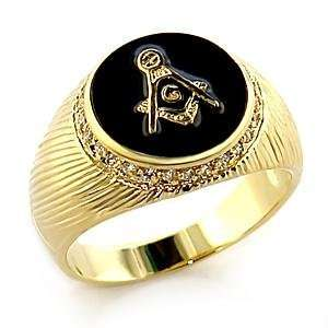 10 Masonic Clear Cubic Zirconia Brass Gold Plated Ring AM Jewelry