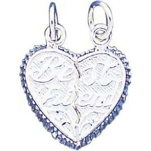 Sterling Silver Best Friend Break Apart Heart Charm Jewelry