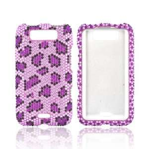Purple Black Leopard Lavender Gems Hard Bling Snap On