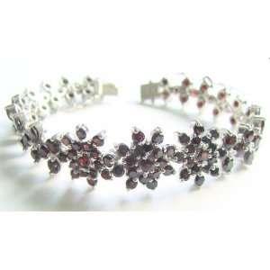 19ct Garnet Gemstone Sterling Silver Bracelet Jewelry