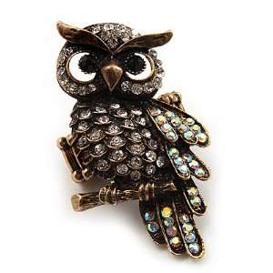 Clear Diamante Antique Gold Owl Stretch Ring   Size 8/9 Jewelry