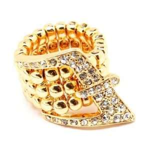 Buckle Stretch Ring Clear Crystals Gold Tone Dressy Casual