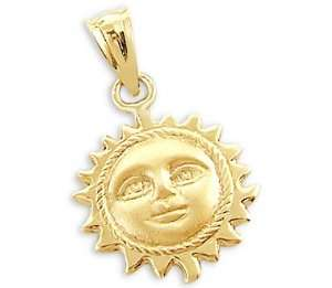 14k Yellow Gold Sun Face Pendant Charm New Detailed Jewelry